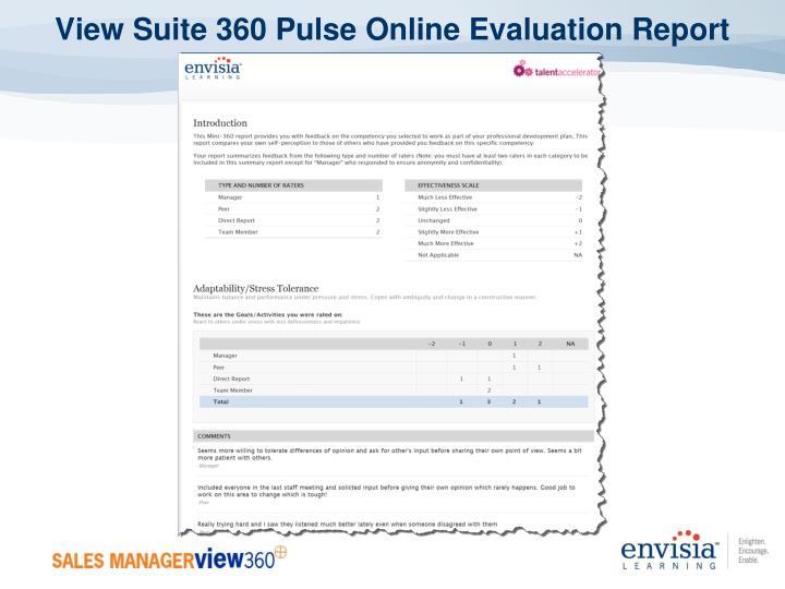 View Suite 360 Pulse Online Evaluation Report