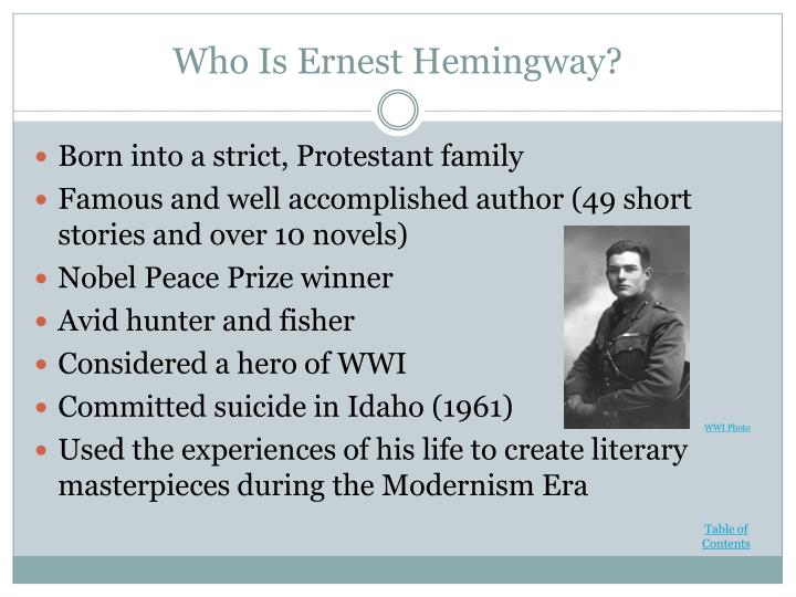 a biography of ernest hemingway a famous american novelist He was the ernest hemingway writer in residence where he wrote in the attic of ernest hemingway's birthplace he has written articles and reviews for usa today and other publications and has been featured on npr all things considered.