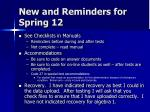 new and reminders for spring 12