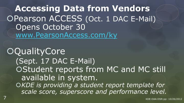 Accessing Data from Vendors