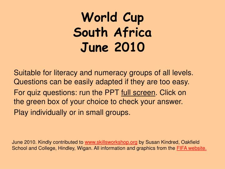 world cup south africa june 2010 n.