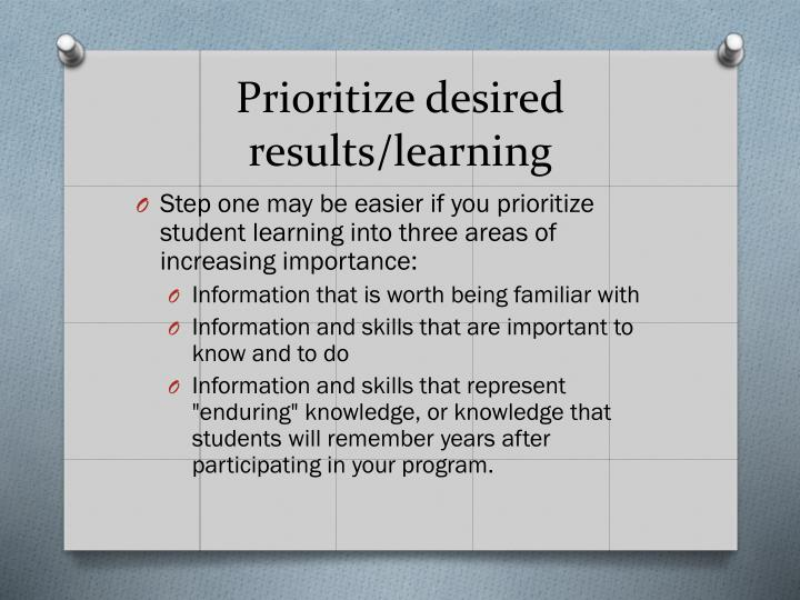 Prioritize desired results/learning