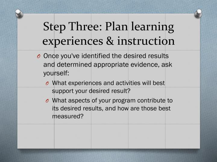 Step Three: Plan learning experiences & instruction