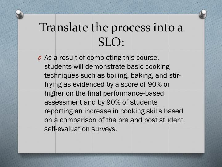 Translate the process into a SLO: