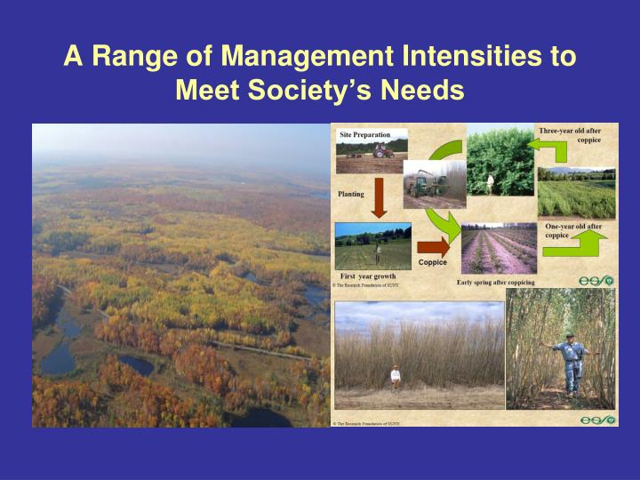 A Range of Management Intensities to Meet Society's Needs