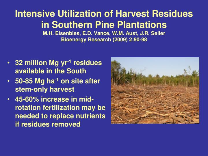 Intensive Utilization of Harvest Residues in Southern Pine Plantations