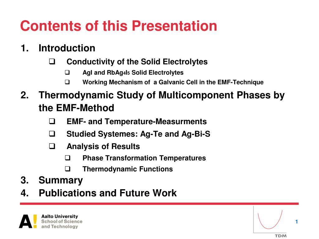 PPT - Experimental Thermodynamics Using AgI-Based Superionic