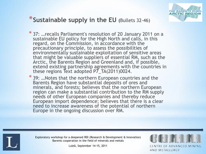 Sustainable supply in the