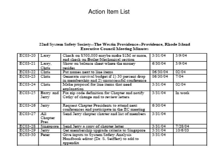 Action item list1