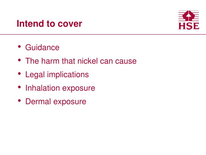 Intend to cover