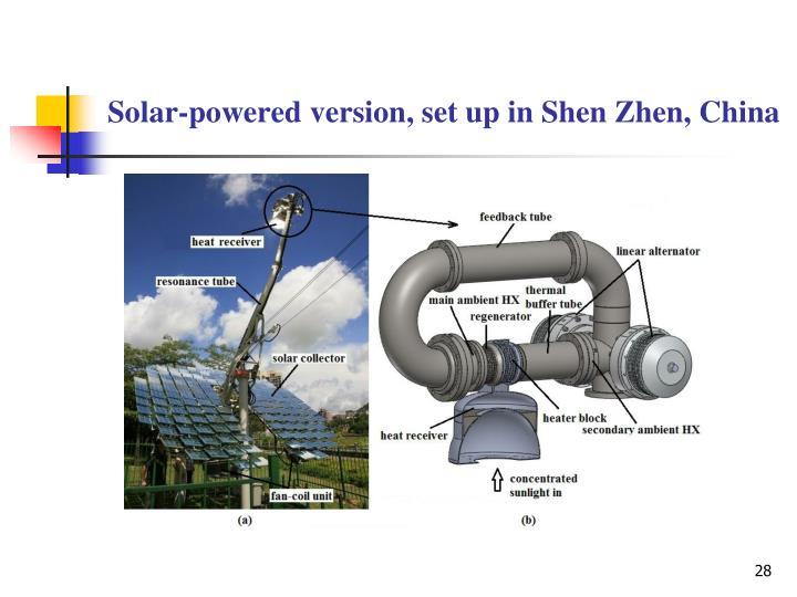 Solar-powered version, set up in Shen Zhen, China