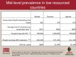 mid level prevalence in low resourced countries
