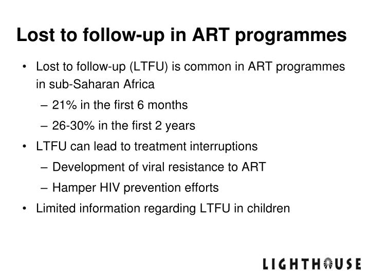 Lost to follow up in art programmes