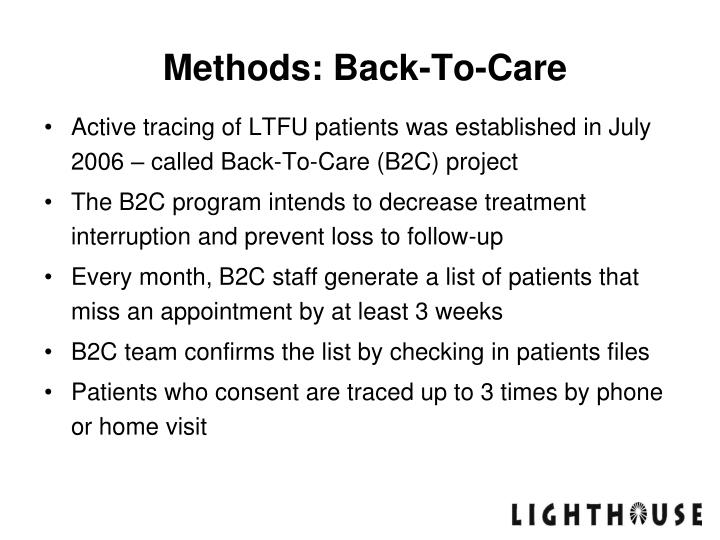 Methods: Back-To-Care
