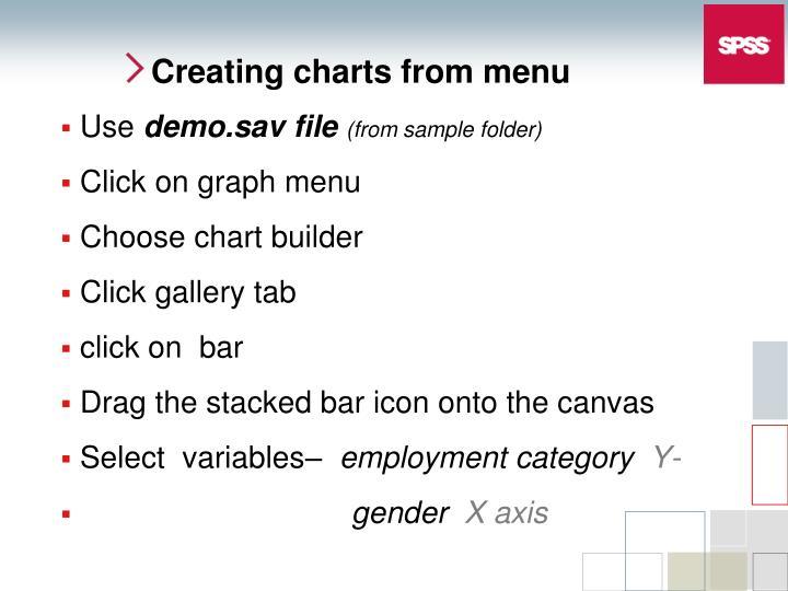 Creating charts from menu