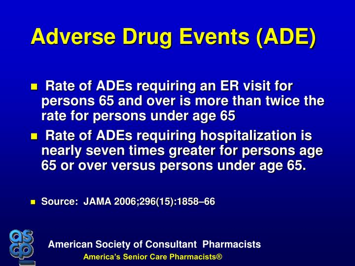 Rate of ADEs requiring an ER visit for persons 65 and over is more than twice the rate for persons under age 65