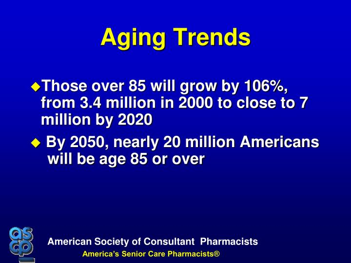 Those over 85 will grow by 106%, from 3.4 million in 2000 to close to 7 million by 2020