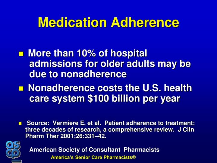 More than 10% of hospital admissions for older adults may be due to nonadherence