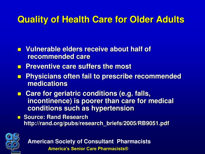 Vulnerable elders receive about half of recommended care