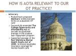 how is aota relevant to our ot practice