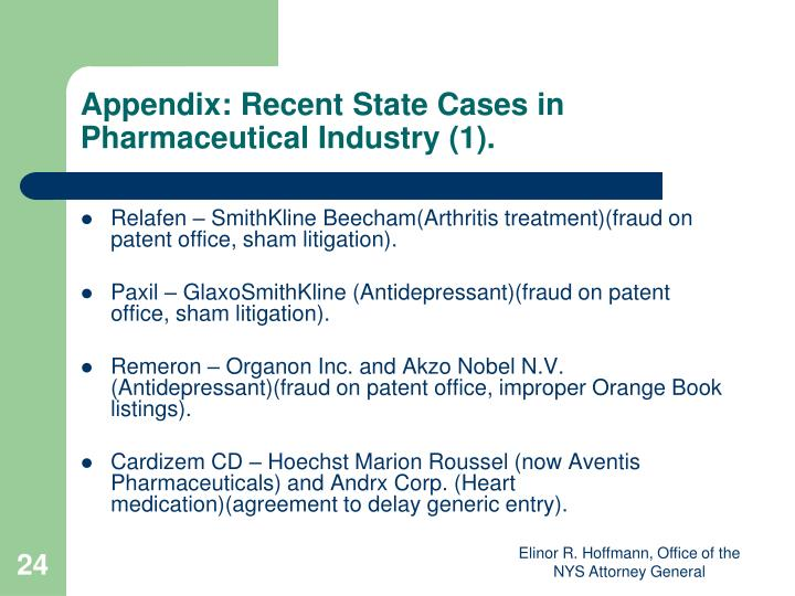 Appendix: Recent State Cases in Pharmaceutical Industry (1).