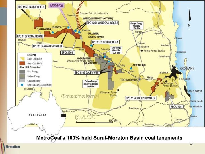 MetroCoal's 100% held Surat-Moreton Basin coal tenements