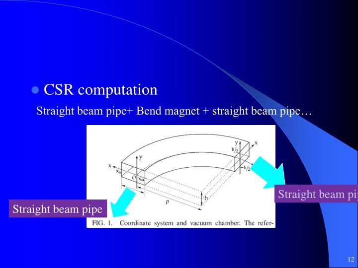 Straight beam pipe+ Bend magnet + straight beam pipe…