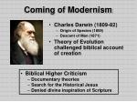coming of modernism