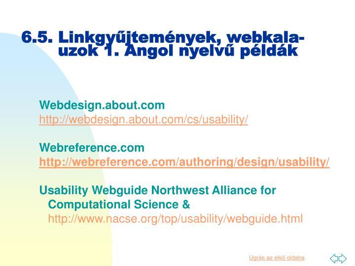 6.5. Linkgyűjtemények, webkala-