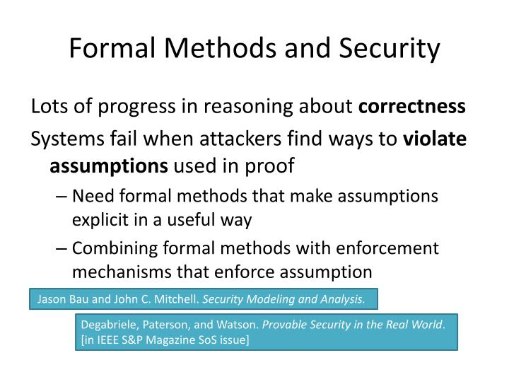 Formal Methods and Security