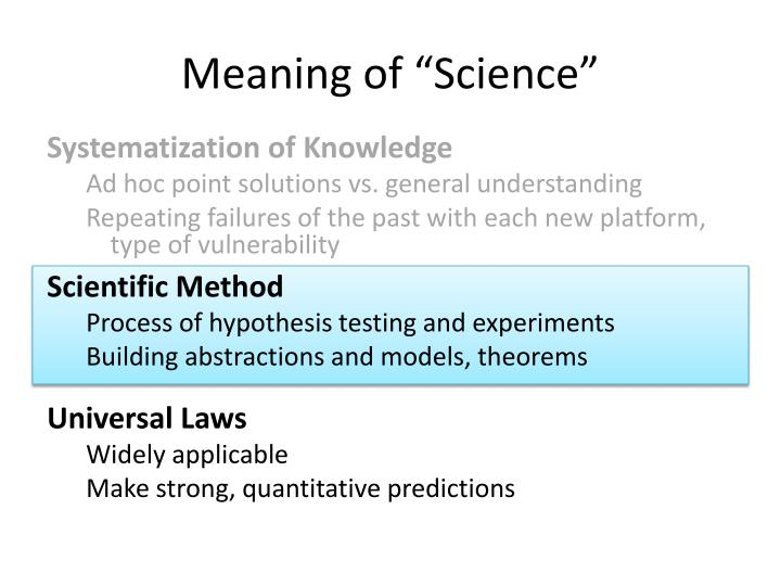 """Meaning of """"Science"""""""