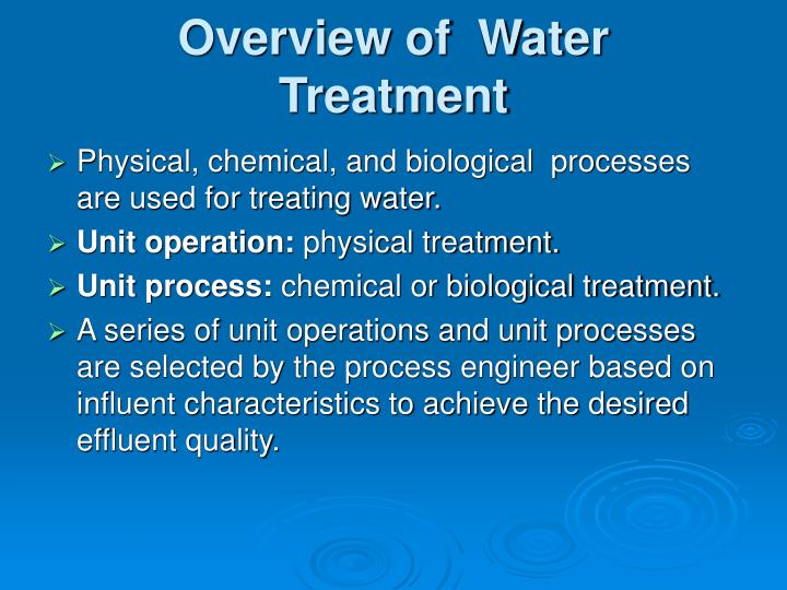 PPT - Overview of Water Treatment PowerPoint Presentation