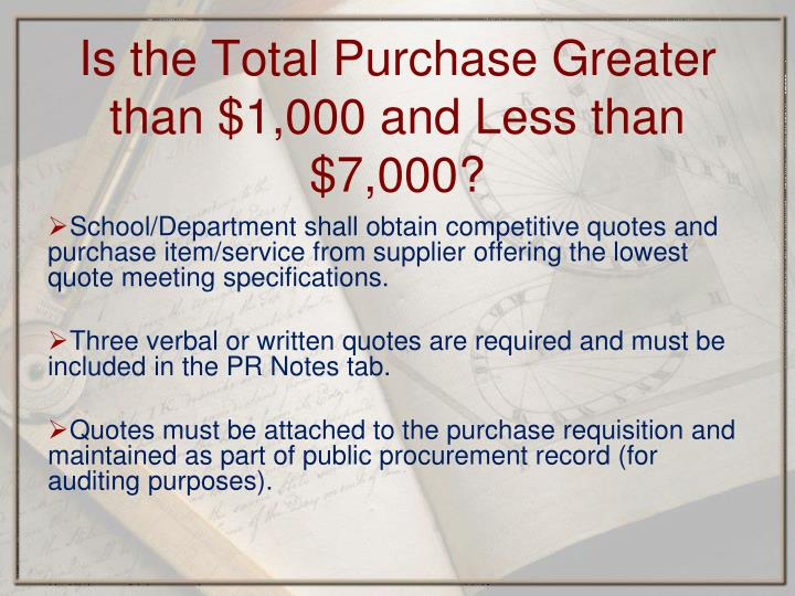 School/Department shall obtain competitive quotes and purchase item/service from supplier offering the lowest quote meeting specifications.