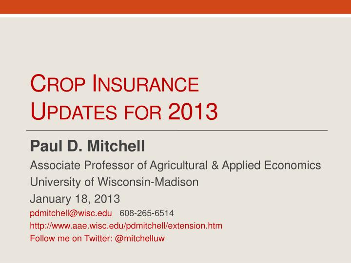 crop insurance updates for 2013 n.