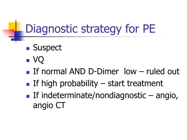 Diagnostic strategy for PE