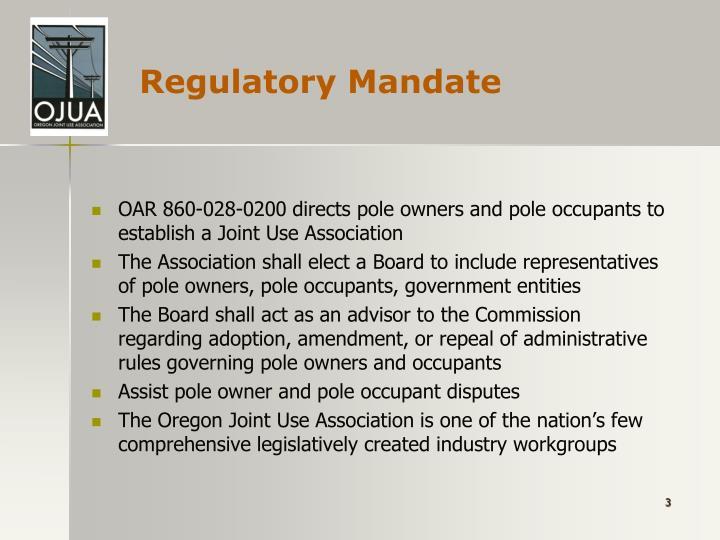 Regulatory mandate