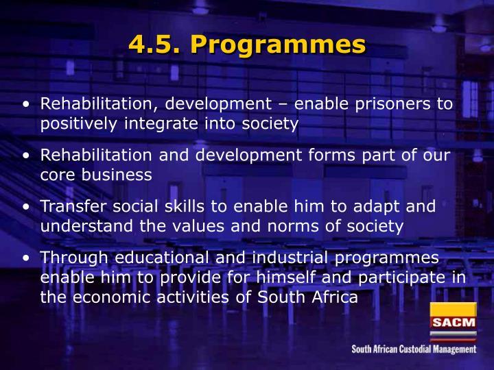 4.5. Programmes