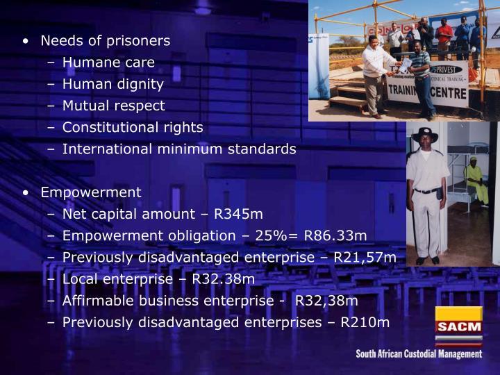 Needs of prisoners