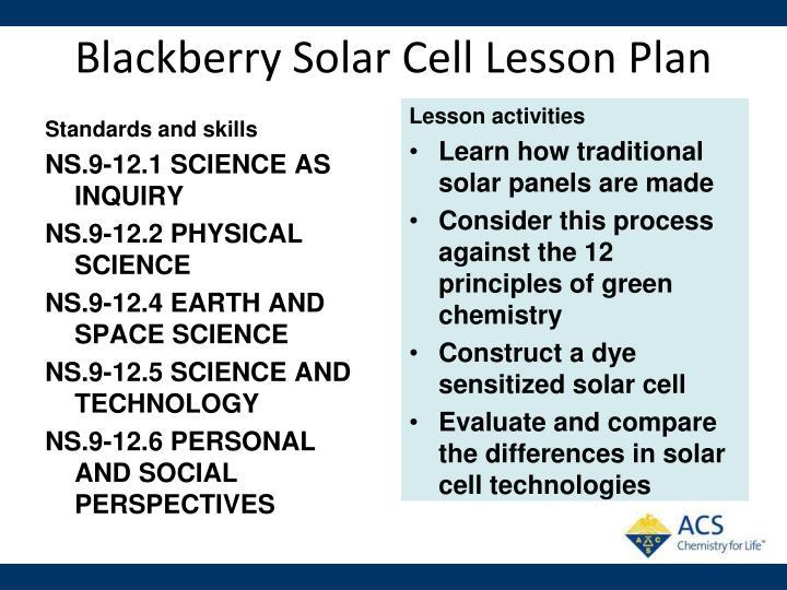 Blackberry Solar Cell Lesson Plan