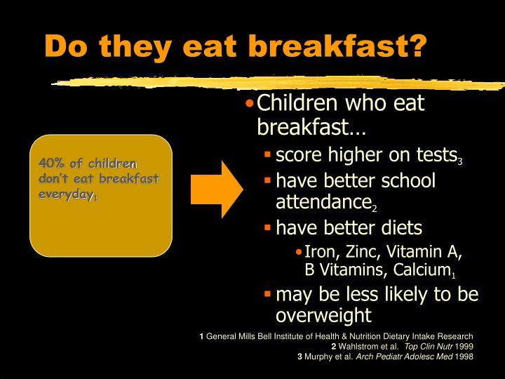 Do they eat breakfast?