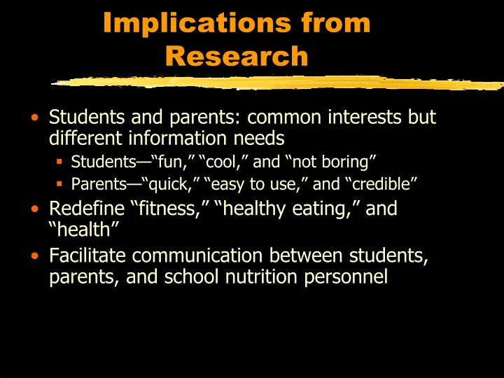 Implications from Research