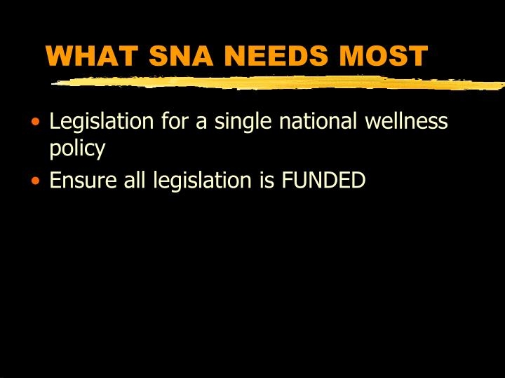 WHAT SNA NEEDS MOST
