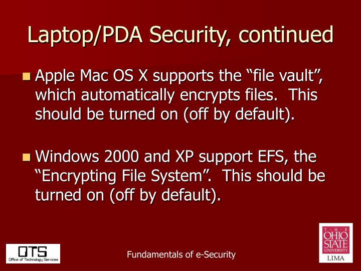 Laptop/PDA Security, continued
