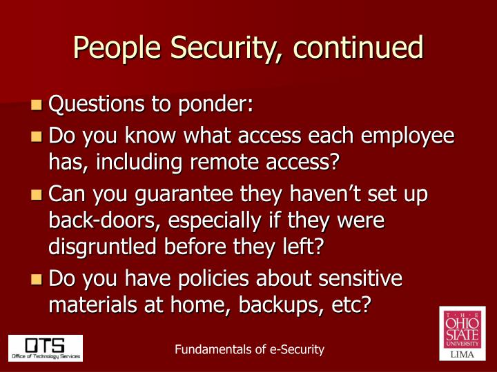 People Security, continued