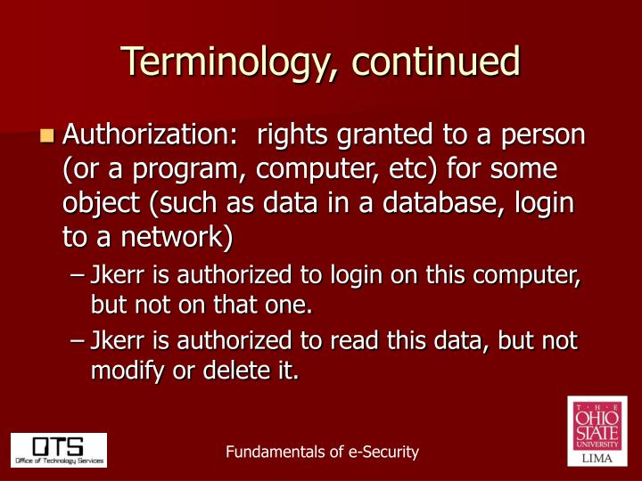 Terminology, continued