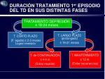 duraci n tratamiento 1 er episodio del td en sus distintas fases