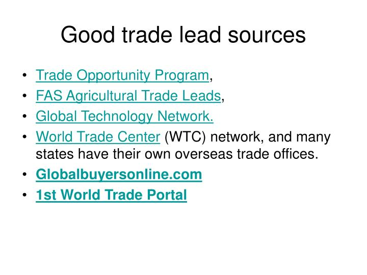 Good trade lead sources