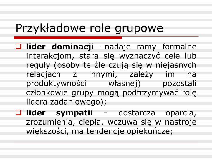 Przykładowe role grupowe