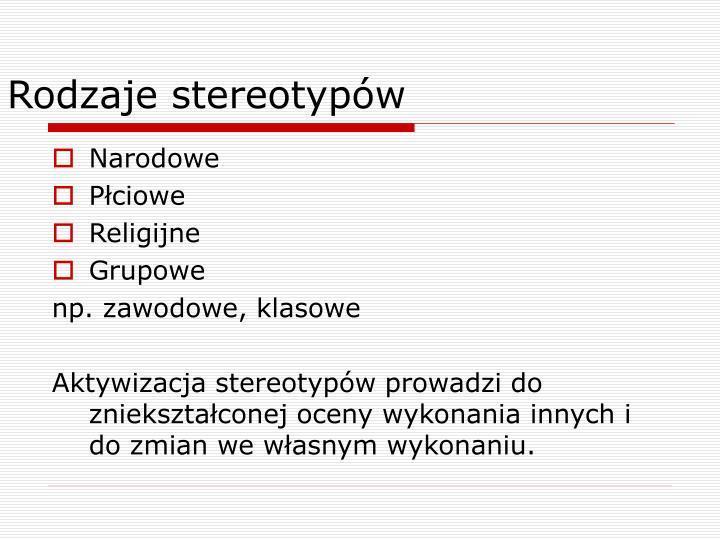 Rodzaje stereotypów