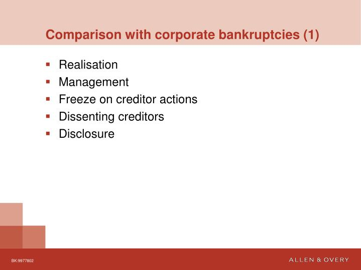 Comparison with corporate bankruptcies (1)